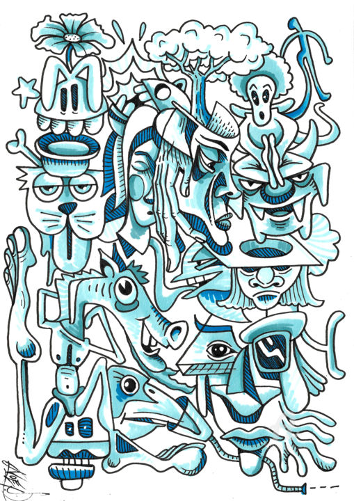 Cartoon Drawing, marker, street art, artwork by Art De Noé