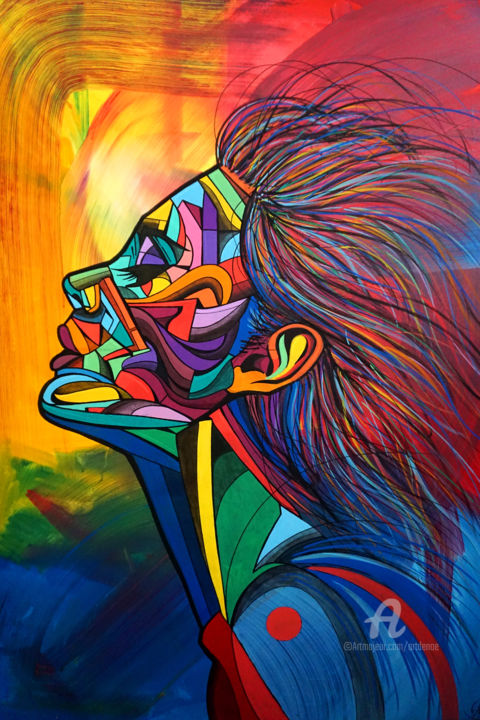 """Painting titled """"Color lines girl"""" by Art De Noé, Original Art, Acrylic Mounted on Stretcher frame"""