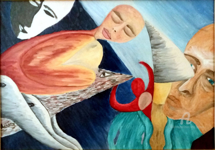 Differenti Orizzonti - Painting,  19.7x27.6x1 in, ©2014 by Accarò -                                                                                                                                                                                                                                                                                                                                                              Surrealism, surrealism-627, Spirituality, differenti orrizonti, Accarò, Accarò art, surrealismo
