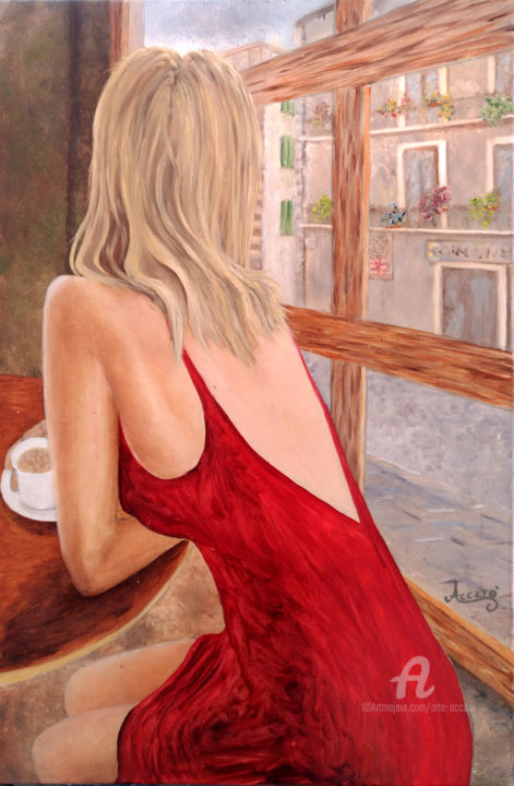 Time Out - Painting,  23.6x15.8x1 in, ©2018 by Accarò -                                                                                                                                                                                                                                                                                                              Figurative, figurative-594, Love / Romance, Cities, Cityscape, Portraits