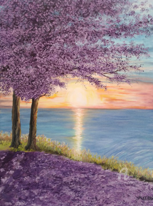 Sogno della Principessa - Painting,  80x60x2.5 cm ©2018 by Accarò -                                                                                                                                                            Environmental Art, Land Art, Contemporary painting, Canvas, Water, Tree, Love / Romance, Botanic, Seascape, Beach, Seasons, Accarò, guardavaccaro, Guardavaccaro Antonio, pittura ad olio, paesaggio, paesaggio marino, mare, sole, spiaggia, albero imperatrice, albero principessa, albero lilla, la principessa, la principessa e la sua ombra, accarò art