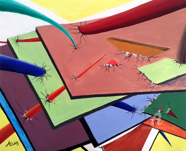 Game Over - Painting,  40x50x2 cm ©2019 by Accarò -                                            Surrealism, Canvas, Accarò, Game Over, Antonio Guardavaccaro, Surrealismo
