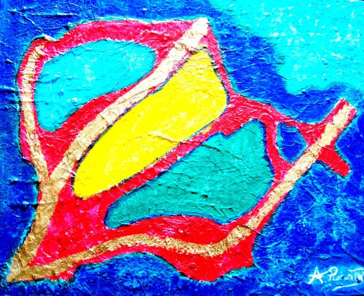astratto Estate 13 - Painting,  40x50 cm ©2012 by Angelo Pisciotta -                        Abstract Art