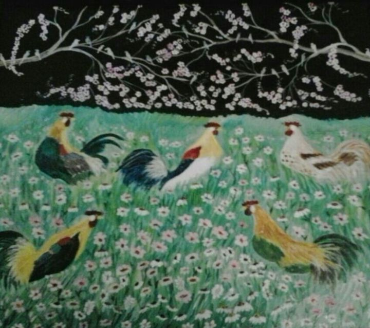 Puro Gallo !!! - Painting,  19.7x21.3 in, ©1992 by Maika -