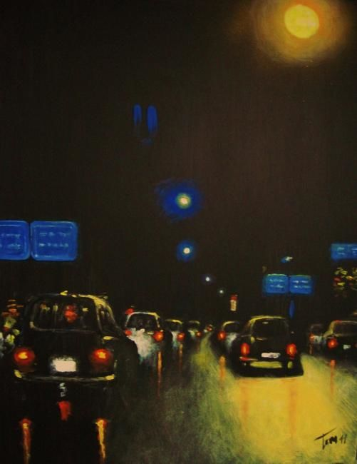 Tornando a casa - Painting,  70x50 cm ©2011 by Luigi Torre -                            Contemporary painting, cars light night road