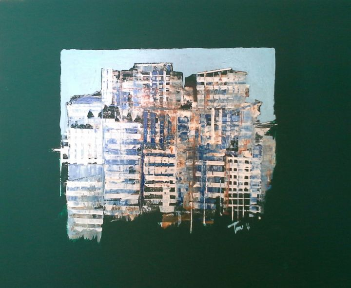 Periferia - Painting,  50x50 cm ©2014 by Luigi Torre -                                                            Contemporary painting, Wood, Cities, Cityscape