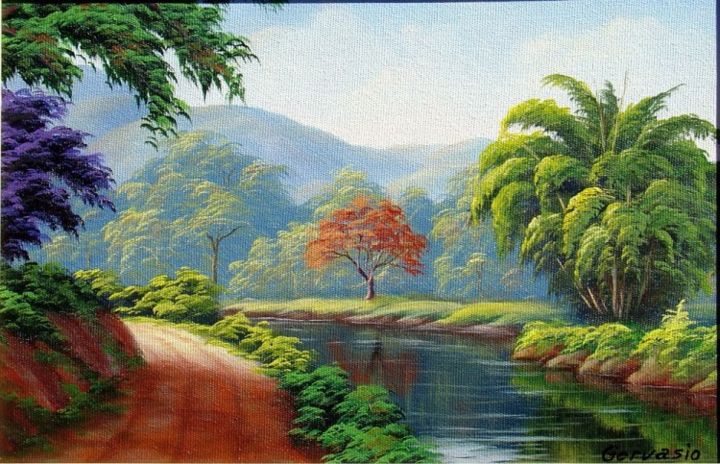 Paisagem - Painting,  15.8x19.7 in, ©2013 by Cida picoli -