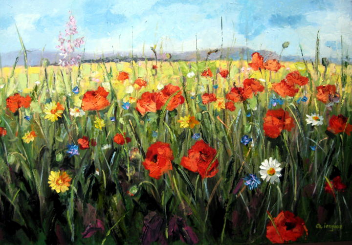 Field Of Flowers Painting By Gheorghe Iergucz Artmajeur