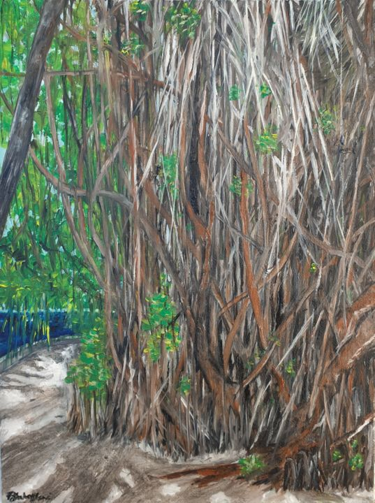 Deep roots - Painting,  12x9x0.4 in, ©2020 by Fatima Yg -                                                                                                                                                                                                                      Impressionism, impressionism-603, Nature, Tree