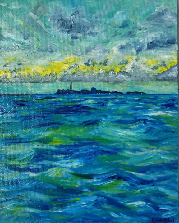 Afrique II - Sunshine place - Painting,  10x8x0.4 in, ©2020 by Fatima Yg -                                                                                                                                                                                                                                                                                                                                                                                                          Impressionism, impressionism-603, Seascape, sea, sky, island, holiday, nature painting