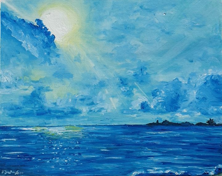 Afrique III - Blissful times - Painting,  8x10x0.4 in, ©2020 by Fatima Yg -                                                                                                                                                                                                                      Impressionism, impressionism-603, Beach, Seascape