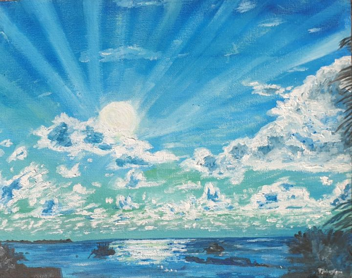 Dance of light,shadow,earth & water - Painting,  9x12x0.4 in, ©2020 by Fatima Yg -                                                                                                                                                                                                                                                                  Impressionism, impressionism-603, Beach, Nature, Seascape
