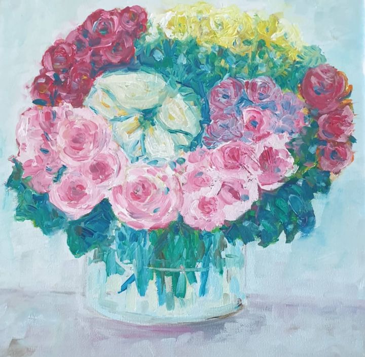 Love blossoms - Painting,  11.8x11.8x0.6 in, ©2020 by Fatima Yg -                                                                                                                                                                                                                                                                                                                                                              Impressionism, impressionism-603, Flower, vase, flowers, garden, nature