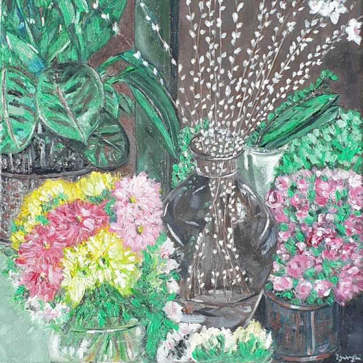 I'll bring you flowers - Painting,  11.8x11.8x0.6 in, ©2020 by Fatima Yg -                                                                                                                                                                                                                                                                                                                                                              Impressionism, impressionism-603, Flower, flower, vase, nature, garden