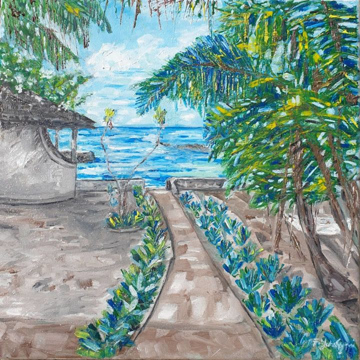Beach serenity - Painting,  11.8x11.8x0.6 in, ©2020 by Fatima Yg -                                                                                                                                                                                                                                                                                                                                                              Impressionism, impressionism-603, Beach, sea, sky, palm trees, oil painting