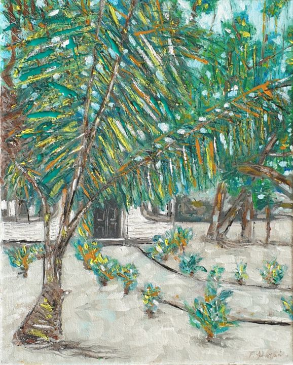 Tropical trees - Painting,  11.8x9.5x0.6 in, ©2020 by Fatima Yg -                                                                                                                                                                                                                                                                                                                                                              Impressionism, impressionism-603, Beach, beach, nature, palm trees, plants