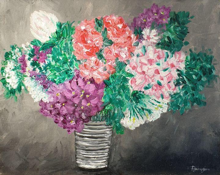 A vase full of the outdoors - Painting,  8x10x0.4 in, ©2020 by Fatima Yg -                                                                                                                                                                                                                                                                                                                                                                                                          Impressionism, impressionism-603, Flower, flowers, garden, oil painting, plants, vase