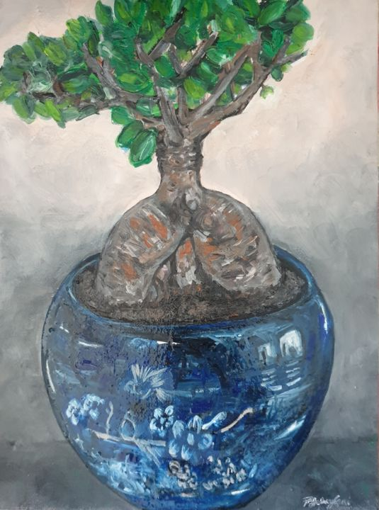 His bonsai tree - Painting,  12x9x0.4 in, ©2020 by Fatima Yg -                                                                                                                                                                                                                                                                                                                                                                                                                                                                                                  Impressionism, impressionism-603, Tree, bonsai tree, far east, asia, blue vase, oriental, nature, impressionism