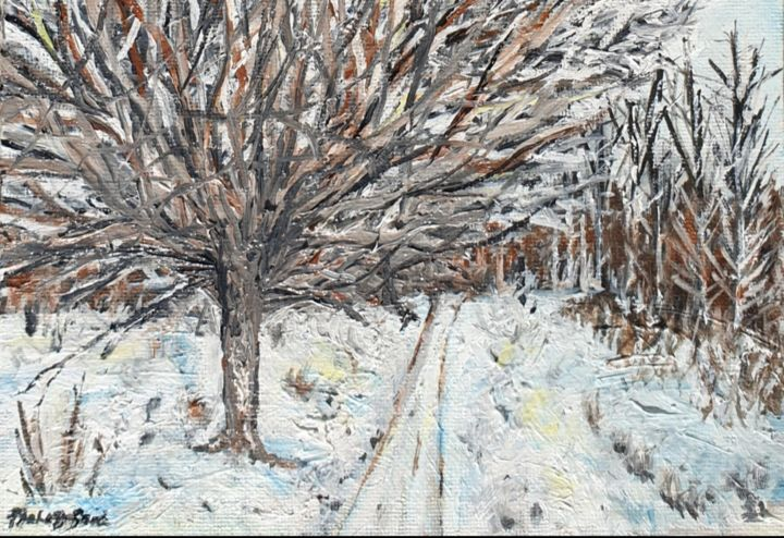 Barnet winter missed - Painting,  5x7x0.4 in, ©2020 by Fatima Yg -                                                                                                                                                                                                                                                                                                                                                                                                                                                                                                                                                                                                                                  Impressionism, impressionism-603, winter, cold, oils, canvas, impressionism, nature, landscape, festive, Christmas, white, sky