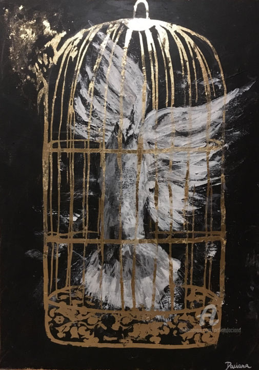About to escape - Painting,  70x50 cm ©2019 by Daciana -                                                                                Conceptual Art, Figurative Art, Modernism, Animals, Spirituality, white dove, golden cage, soul, free soul, trapped soul, golden leaf