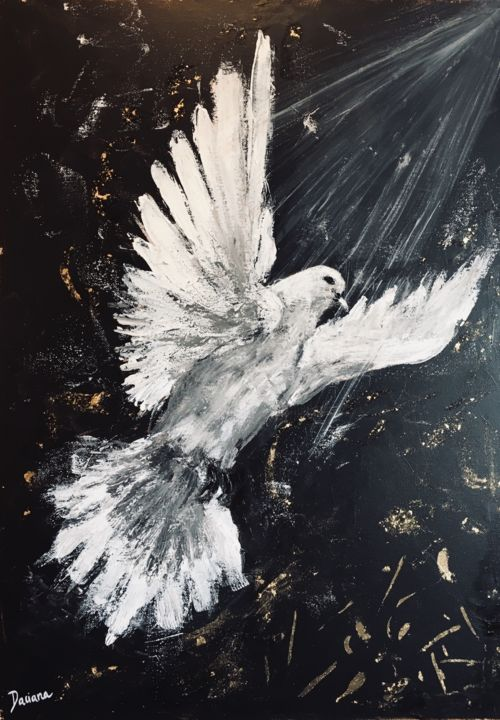 Free soul - Painting,  70x50 cm ©2019 by Daciana -                                                                                Conceptual Art, Figurative Art, Expressionism, Animals, Spirituality, soul, free soul, white dove, colombe, white dove painting