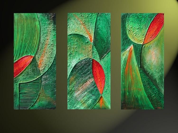 Green - Painting,  120x80 cm ©2006 by Maria Pietkun -                            Contemporary painting, acrylic, Contemporary Art