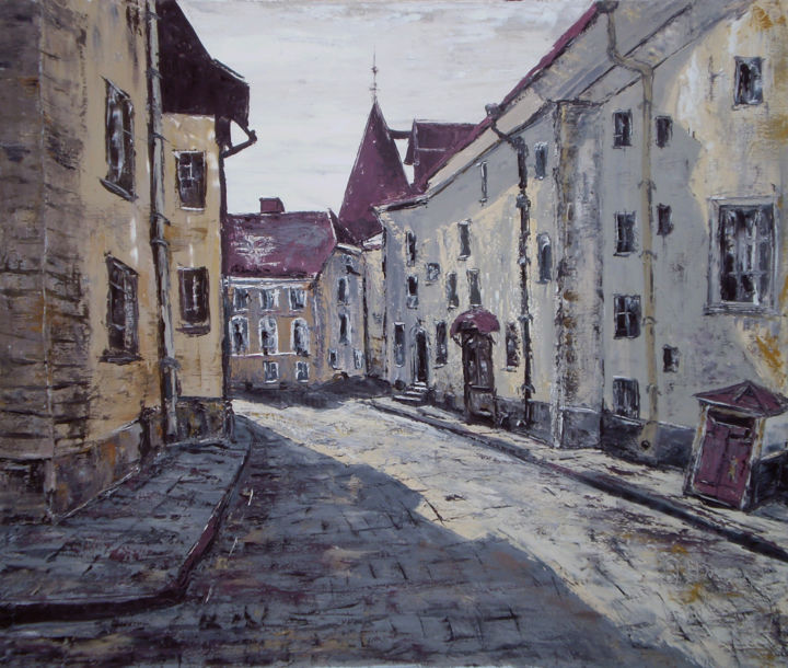 Shadow - Painting,  110x130x2 cm ©2010 by Alla Preobrazhenska-Ronikier -                                                                                                                        Impressionism, Figurative Art, Contemporary painting, Canvas, Cityscape, Architecture, Cities, Places, city, shadow, old town, oil jn canvas, Tallinn, тень, старый город, cityscape