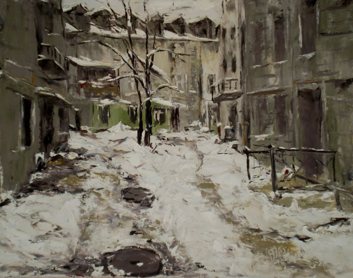 Winter city - © 2013 art, artgallery, painting, oil, canvas, winter, snow, street, house, architecture, city, citystroll, cityscape, town, vacation, exhibition, interior Opere d'arte online