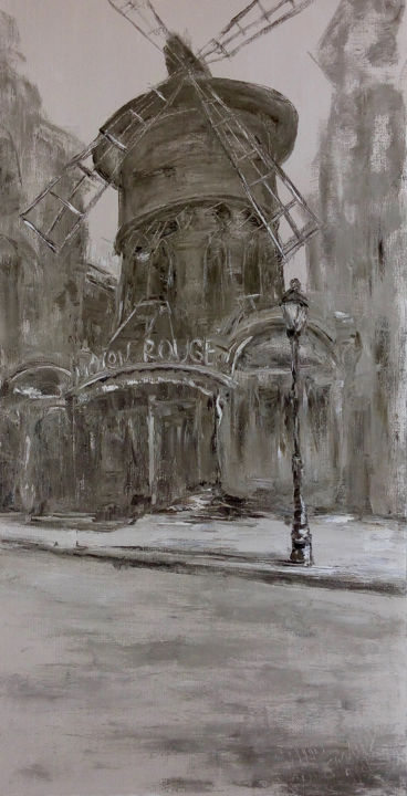 Paris - Painting,  78.7x39.4x0.8 in, ©2012 by Alla Preobrazhenska-Ronikier -                                                                                                                                                                                                                                                                                                                                                                                                                                                                                                                                                                                                                                                                                                                                                                                                                                                                  Impressionism, impressionism-603, Architecture, Cities, Cityscape, Places, Travel, Paris, painting, oil, canvas, impression, street, architecture, town, city, interior, exhibition