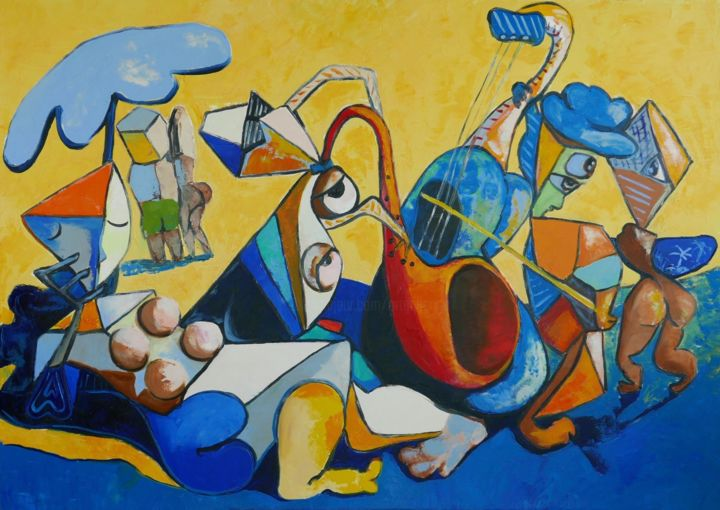 jazz on the beach - © 2018 abstract, jazz, beach, blues, trumpet, oil painting, landscape Online Artworks