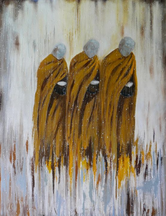 Monks walking for alms in the rain - Painting,  135x105x4 cm ©2018 by Ta -                                                            Abstract Art, Canvas, Portraits, portrait, temple, monks, abstract, buddhism, contemporary, painting
