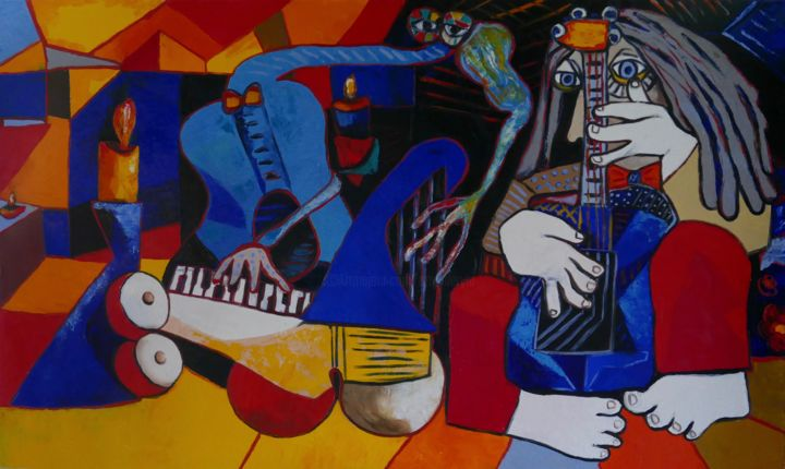 Duke of jazz - Painting,  90x150x4 cm ©2018 by Ta -                                                            Abstract Expressionism, Canvas, Abstract Art, abstract, abstract expressionism, figurative, people, jazz, nude, piano, guitar, trumpet, red, blue
