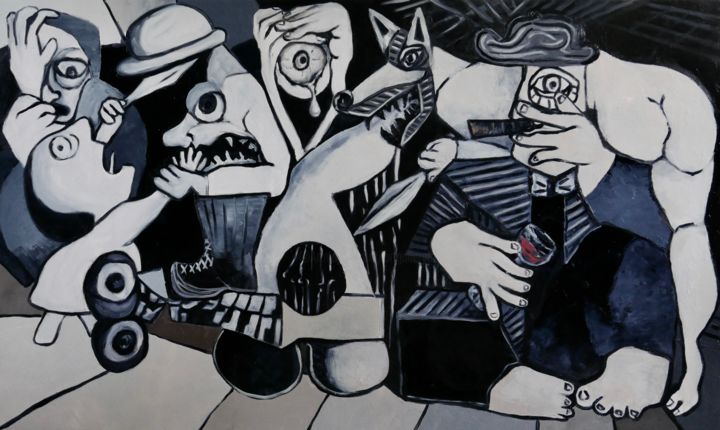 Tragedy of war - © 2018 picasso, guernica, figurative, people, war, nude, black and white, surrealism, chaos Online Artworks