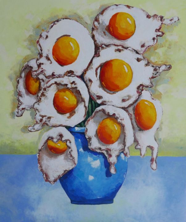 Egg Flowers - © 2019 van gogh, sun flowers, still life, oil painting, contemporary, yellow, blue, impressionism Online Artworks