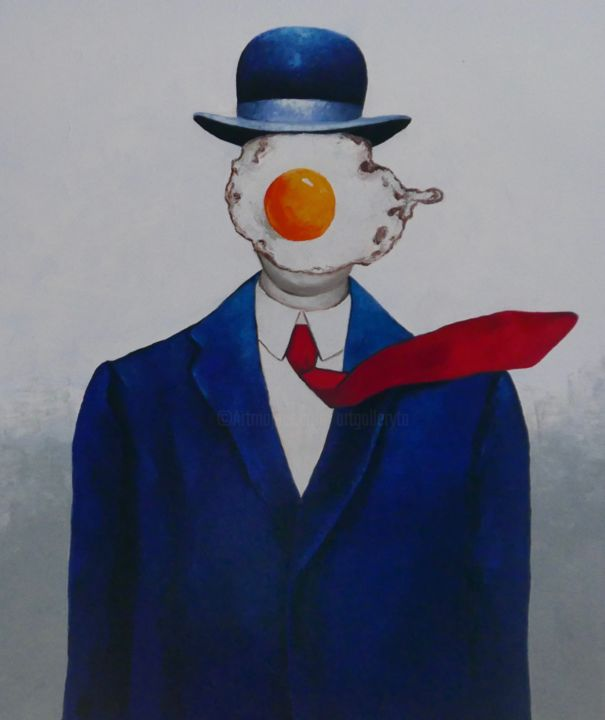 Egg man in bowler hat - Painting,  120x100x4 cm ©2019 by Ta -                                            Surrealism, Portraits, magritte, portrait, surrealism, people