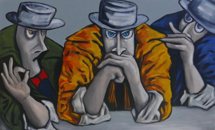 Conspirators deep in thought - © 2019 portrait, yellow, oil painting, canvas, figurative, impressionism, gangs, people Online Artworks