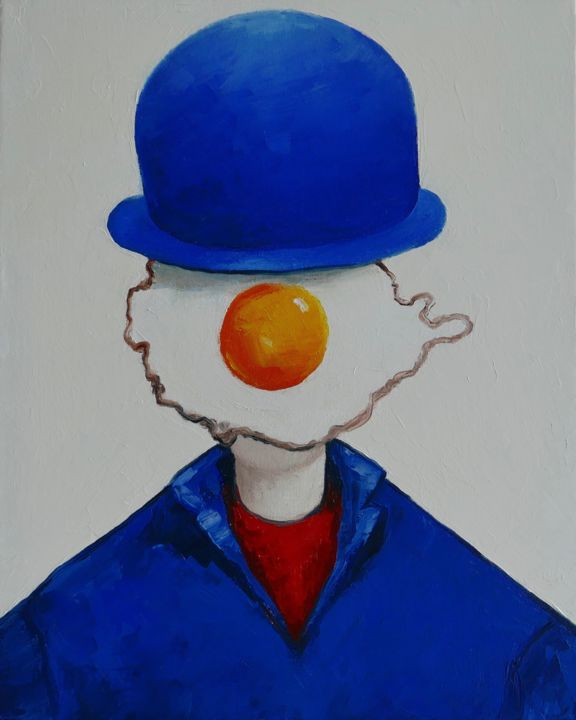 Egg boy in blue hat - Painting,  19.7x15.8x0.8 in ©2019 by Ta -                                            Surrealism, People, portrait, oil painting, canvas, figurative, impressionism, eggs, cubism