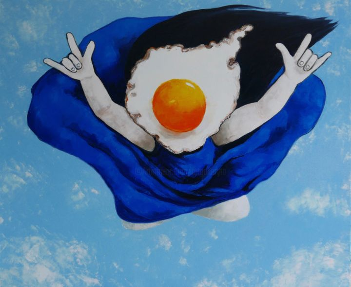 Flying Egg Girl - Painting,  39.4x47.2x1.6 in ©2019 by Ta -                                            Surrealism, People, sky, flying, clouds, blue, girl, oil painting, surrealism, people, figurative