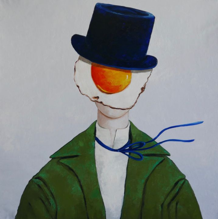 Egg boy in top hat - Painting,  47.2x47.2x1.6 in ©2019 by Ta -                                            Surrealism, People, people, portrait, oil painting, impressionism, green, canvas, fine art, surrealism, oil on canvas