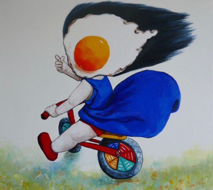Egg girl on a bike - © 2019 people, girl, oil painting, portrait, statement, original, unique, surrealism Online Artworks