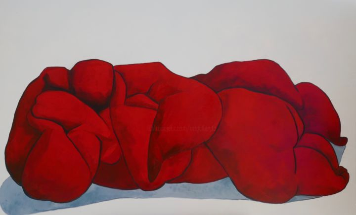 Lovers in reds - © 2019 nude, oil painting, canvas, red, cubism, abstract, lovers, figurative, impressionism Online Artworks