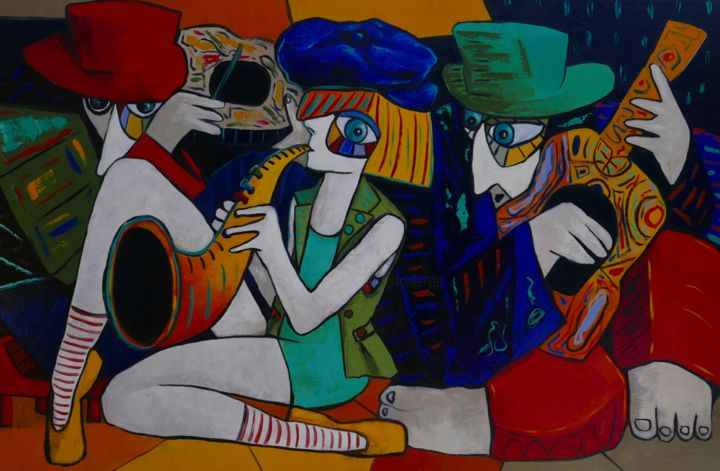 The Sax Player & Friends - © 2019 painting, picasso, oil painting, canvas, jazz, music, people, red, portrait Online Artworks