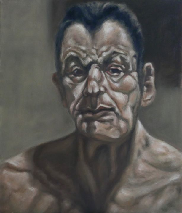 Freud - Painting,  23.6x19.7x1.6 in, ©2019 by Ta Thimkaeo -                                                                                                                                                                                                                                                                                                                                                              Figurative, figurative-594, Portraits, portraits, oil painting, man, oil on canvs