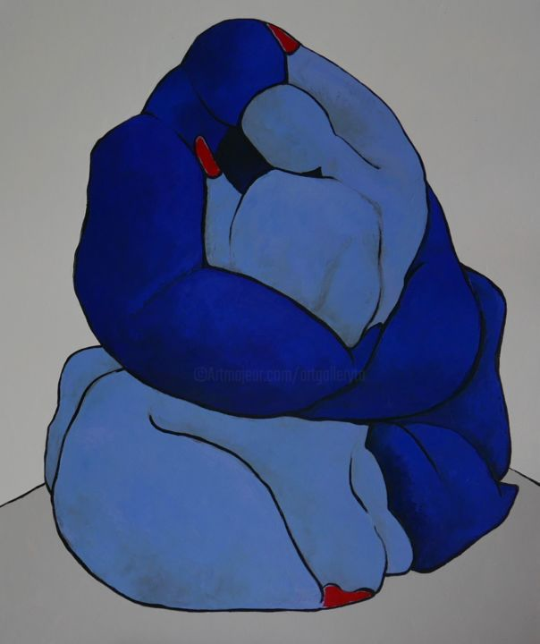 Lovers, stay by me - © 2020 abstract, oil, painting, people, blue, lovers, red, nudes, cubism, piacasso Online Artworks