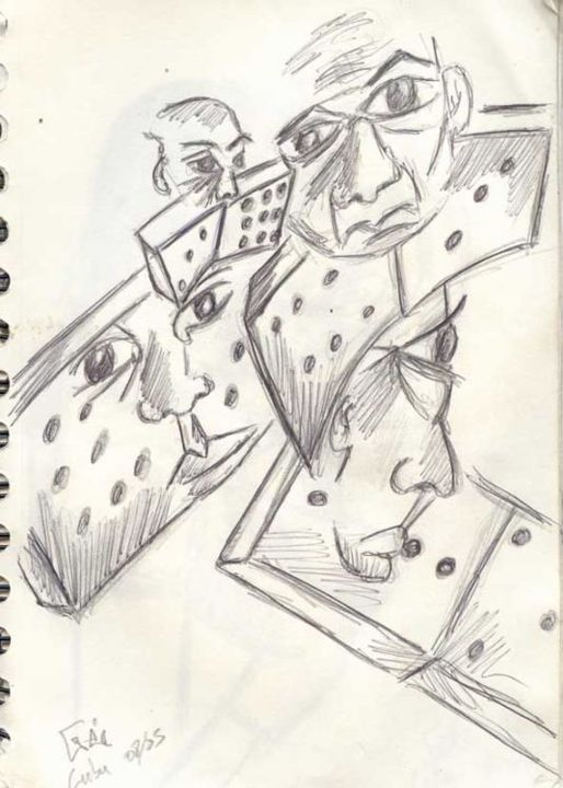 Dominos - Drawing,  0.4 in, ©2005 by Gée -                                                              Black and White