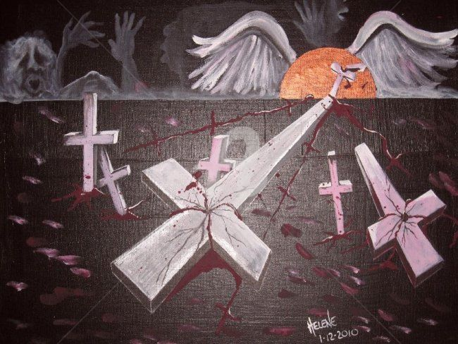 Cries for Justice..When will the femicide end? - Peinture,  18x24 in, ©2010 par Helene -                                                              acrylic on canvas