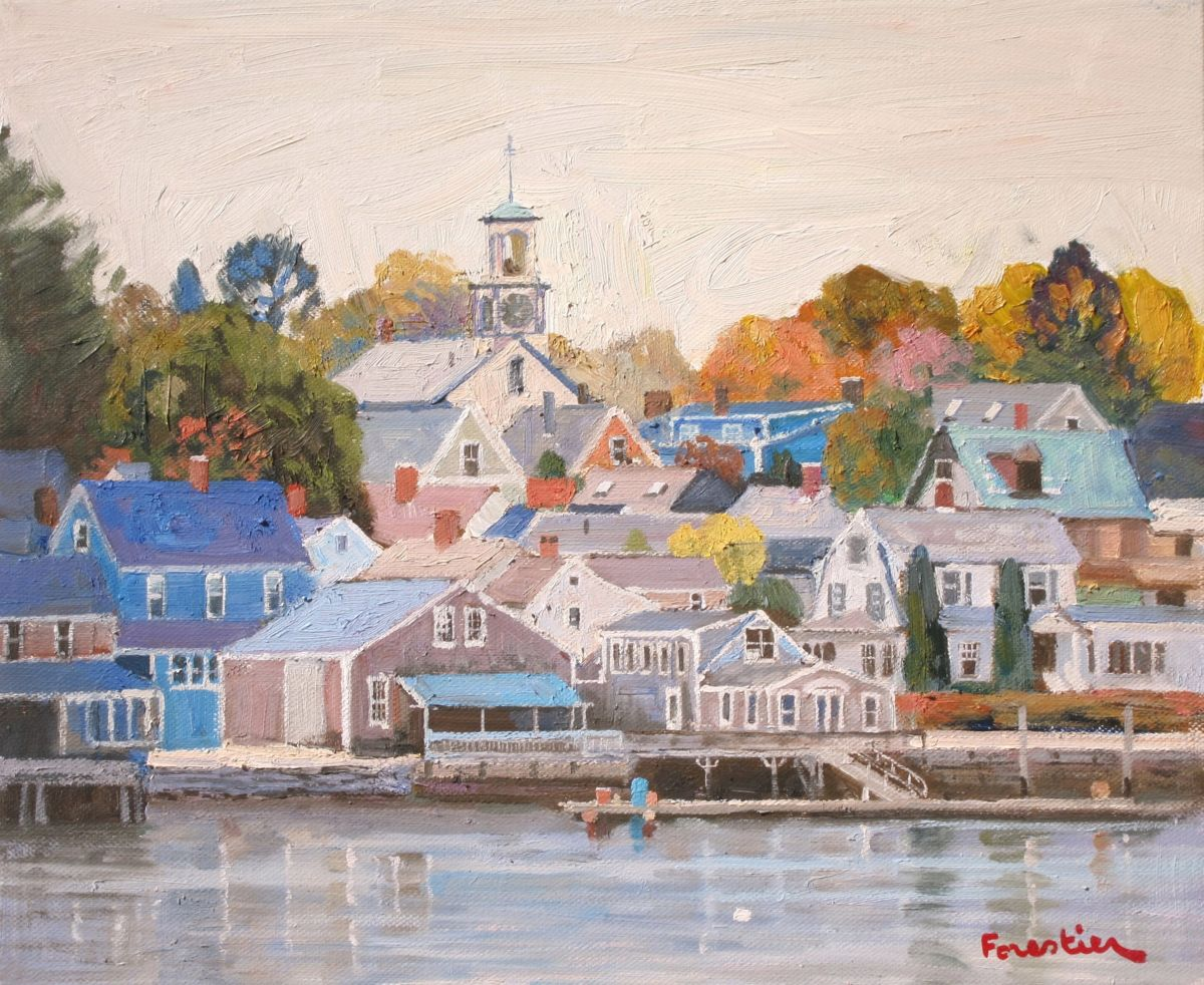 Portsmouth, New Hampshire - Painting,  18x15 in ©2017 by Marc Forestier -                                                            Impressionism, Canvas, Seascape, Portsmouth, Harbor, New Hampshire, Boats
