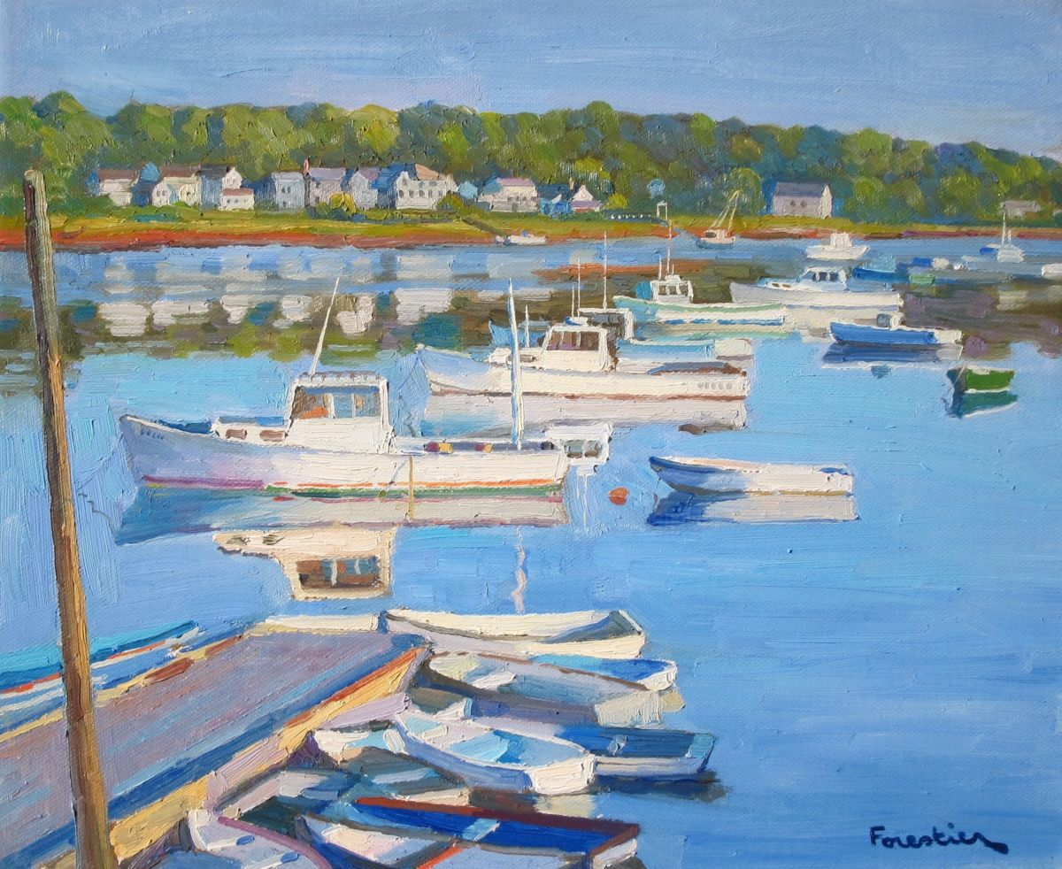 Kennebunkport, Maine - Painting,  15x18 in ©2017 by Marc Forestier -                                                            Impressionism, Canvas, Seascape, Kennebunkport, Maine