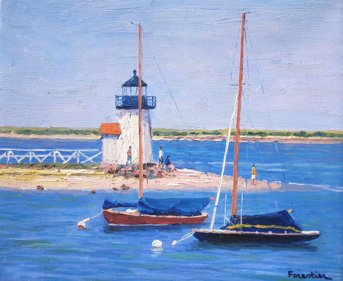 Nantucket, Brant Point Light - Painting,  15x18 in ©2018 by Marc Forestier -                                                            Impressionism, Canvas, Seascape, Nantucket, Brant Point Light, Lighthouse