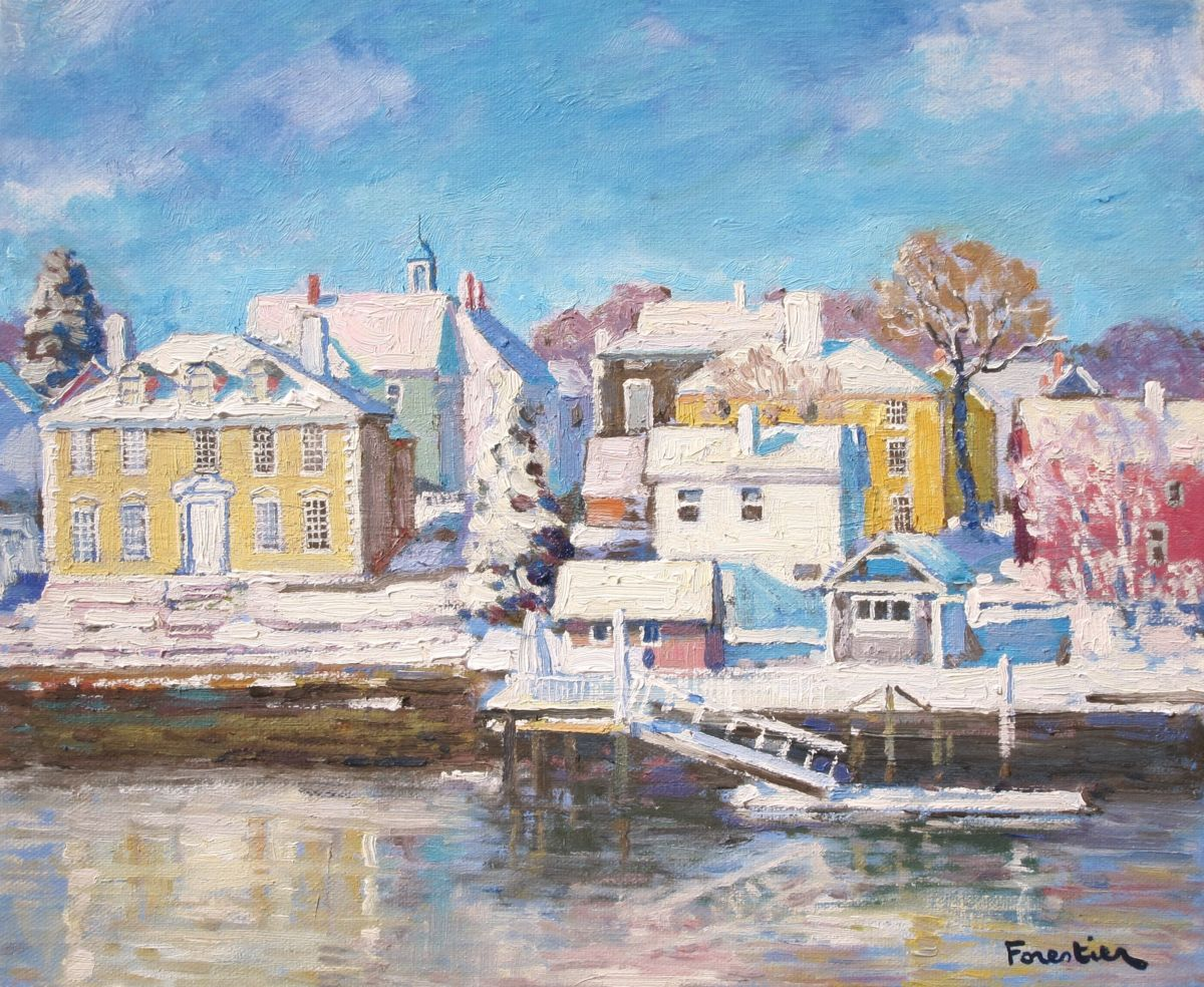Portsmouth in Winter - Painting,  15x18 in ©2018 by Marc Forestier -                                                            Impressionism, Canvas, Seascape, Portsmouth, New Hampshire